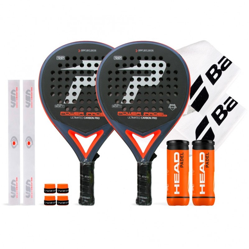 Pack Duo Power Padel Ultimated Carbon Pro Silver / Orange