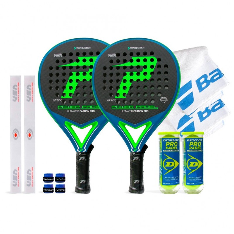 Pack Duo Power Padel Ultimated Carbon Pro Green / Blue