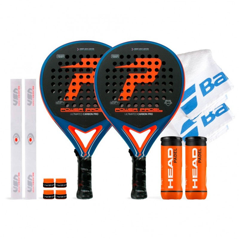 Pack Duo Power Padel Ultimated Carbon Pro Orange / Blue