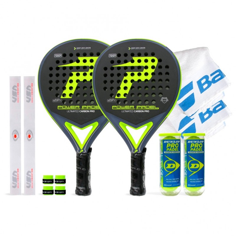 Pack Duo Power Padel Ultimated Carbon Pro Yellow