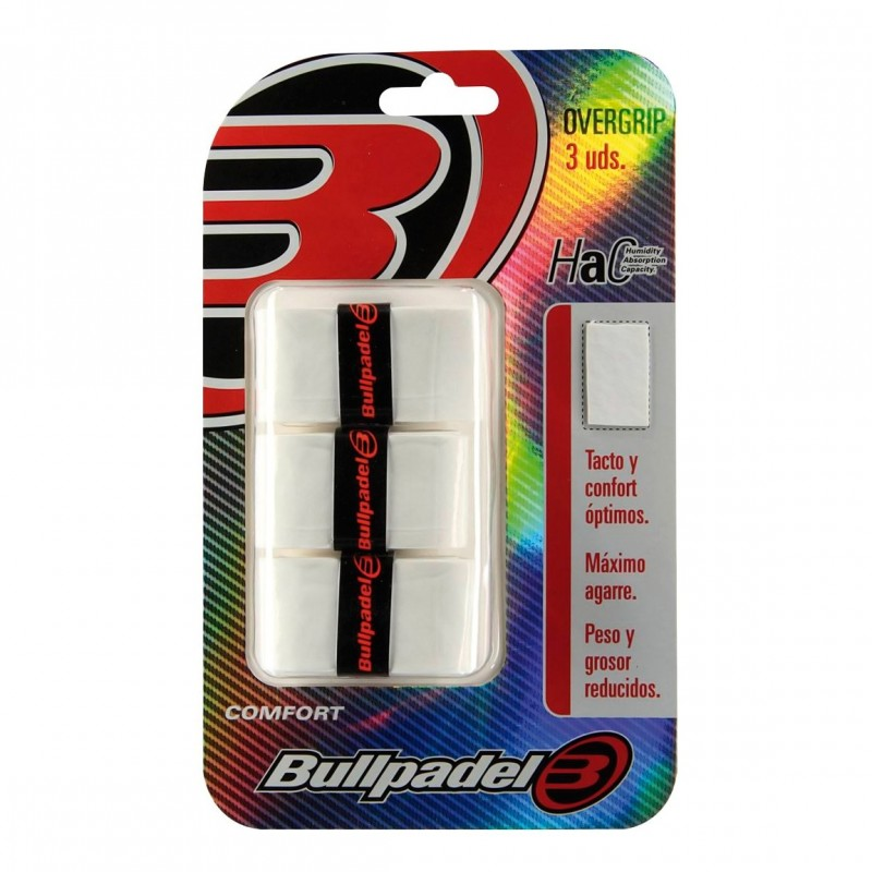 Blister de 3 Overgrips BullPadel GB-1200 blanco