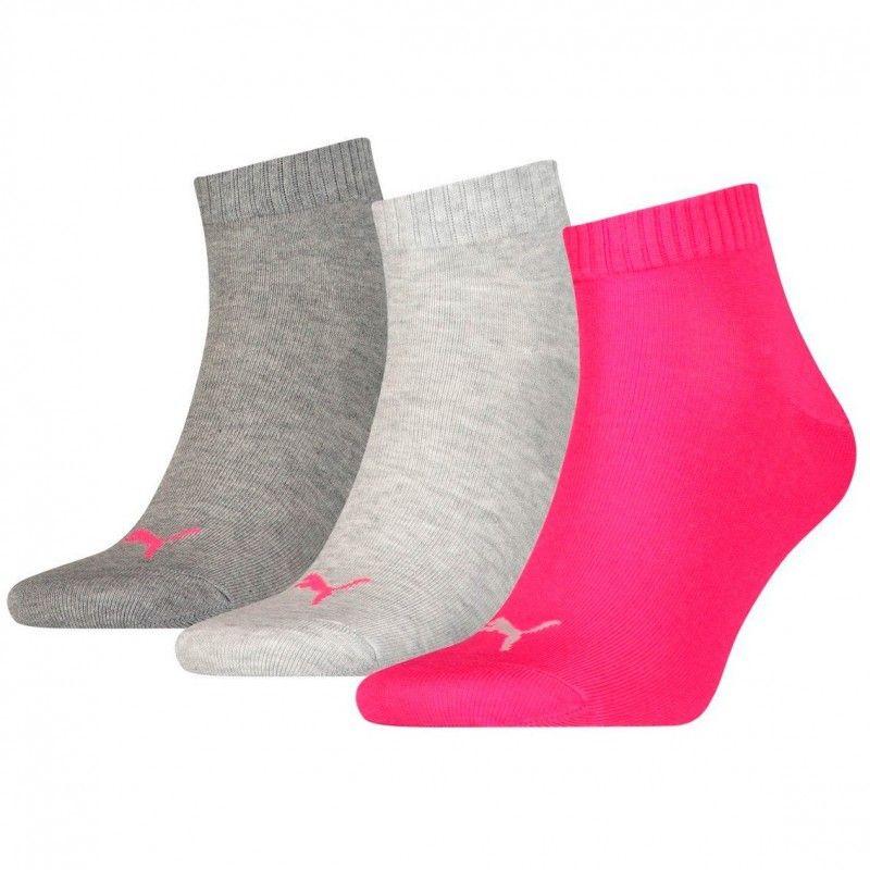 Pack de 3 pares de calcetines Puma Quarter Rosa / Gris