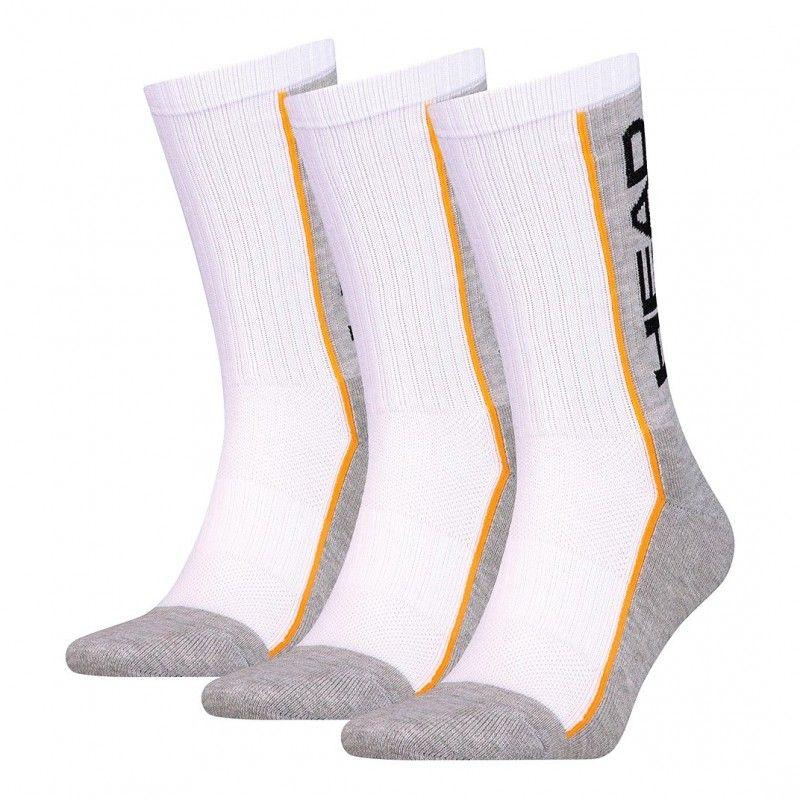 Pack de 3 pares de calcetines Head Performance Crew Logo blanco gris