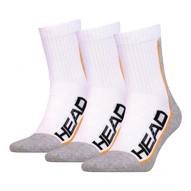 Pack de 3 pares de calcetines Head Performance Short Crew Logo blancos