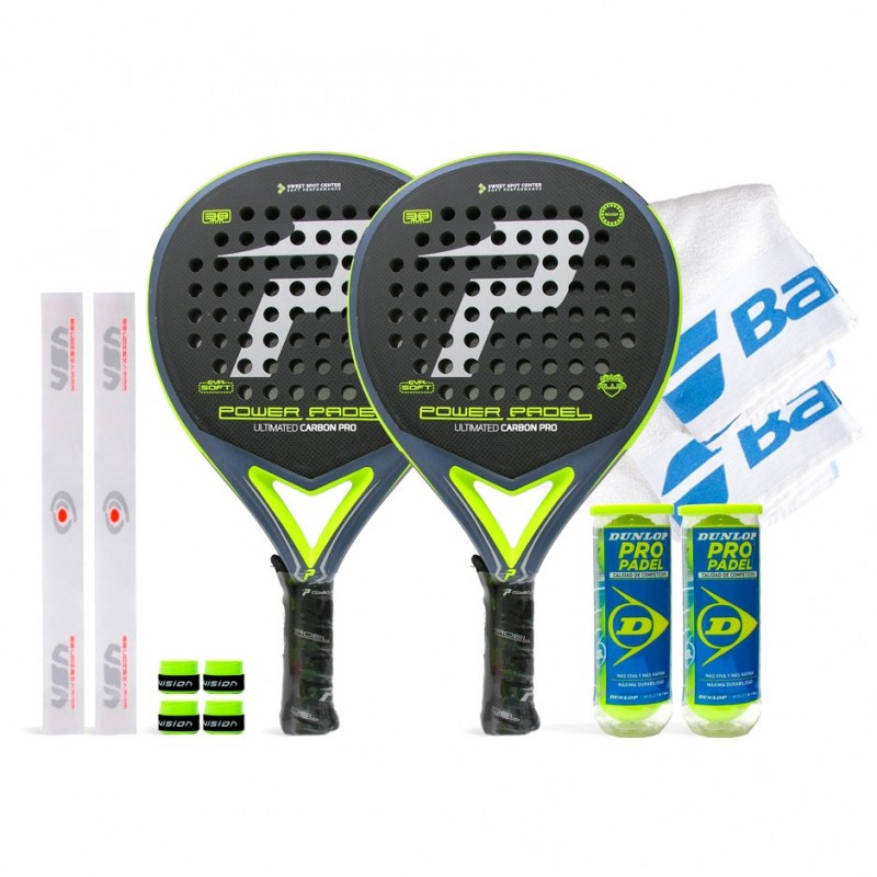 Pack Duo Power Padel Ultimated Carbon Pro Silver / Yellow Rugosa