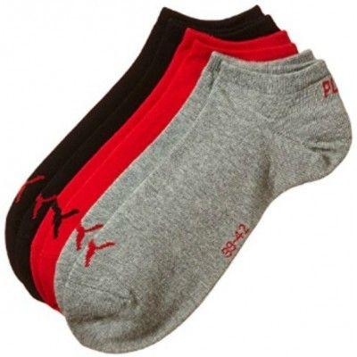 Pack de 3 pares de calcetines Puma Invisible Rojo / Gris / Negro