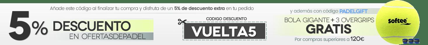 Cupón descuento del 5% y regalo de PELOTA GIGANTE + 3 OVERGRIPS VIBORA en compras superiores a 120€