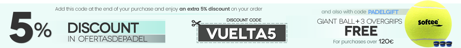 5% discount coupon and gift of GIANT BALL + 3 OVERGRIPS VIBORA on purchases over € 120