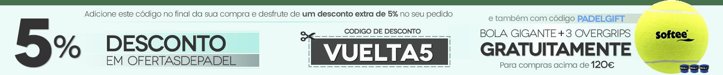 Cupom de 5% de desconto e presente de GIANT BALL + 3 OVERGRIPS VIBORA em compras superiores a € 120