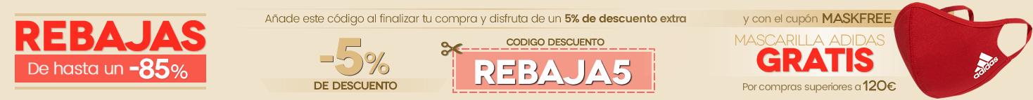 Cupón descuento del 5% REBAJA5 y regalo de MASCARILLA ADIDAS en compras superiores a 120€ , MASKFREE
