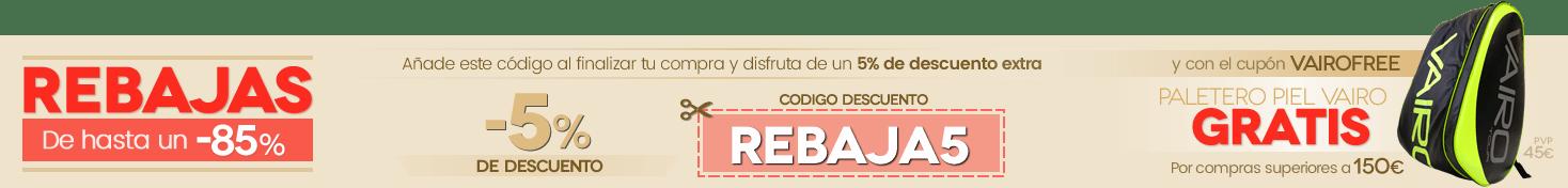 Cupón descuento del 5% y regalo de un PALETERO VAIRO en compras superiores a 150€